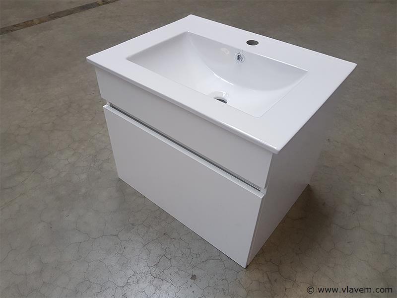 1 st. 60cm Badkamermeubel lak glanzend - Kleur wit