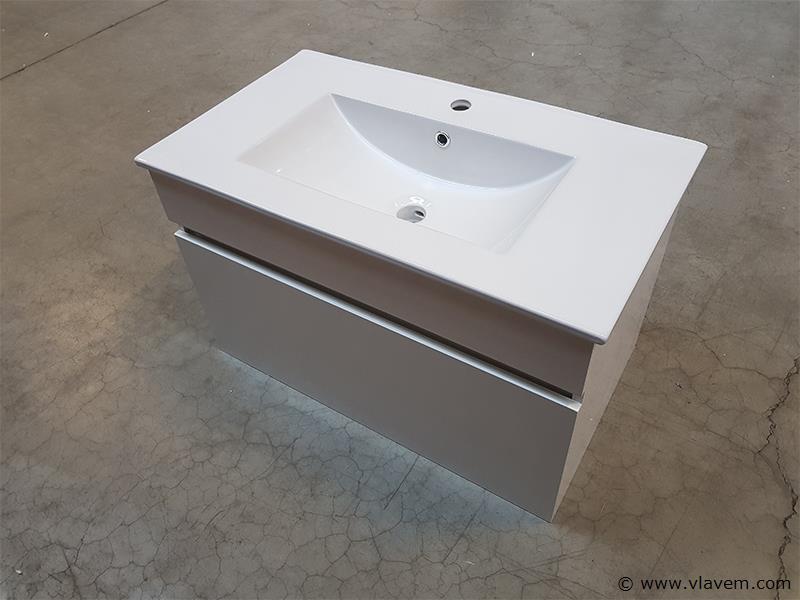 1 st. 80cm Badkamermeubel lak glanzend - Kleur wit