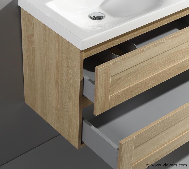 1 st. 80cm Design Badkamermeubel - Kleur wit oak melamine