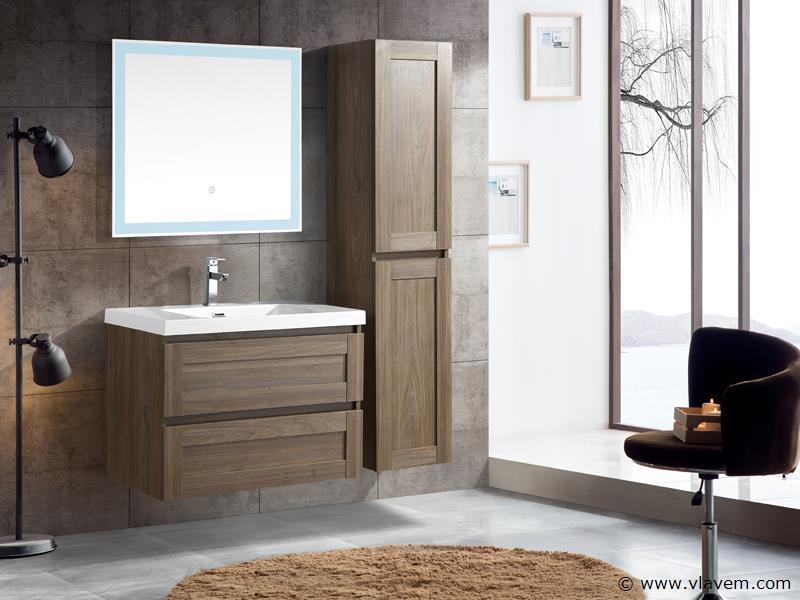 1 st. 80cm Design Badkamermeubel - Kleur grey elm melamine