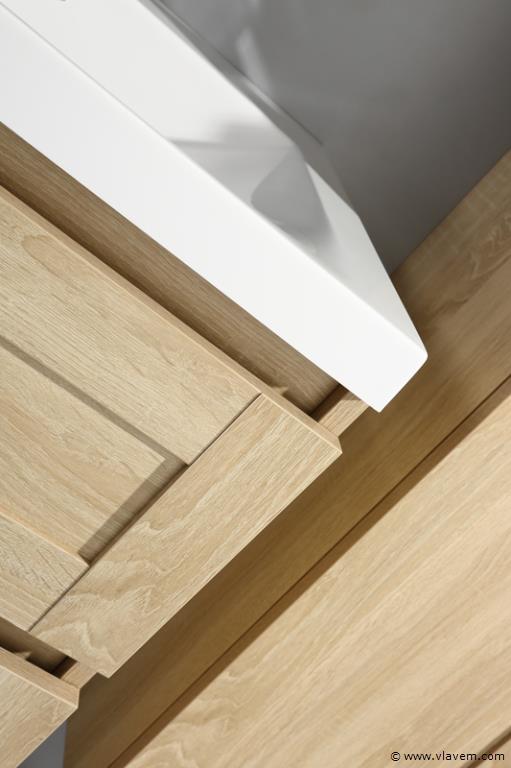 1 st. 120cm Design Badkamermeubel - Kleur wit oak melamine
