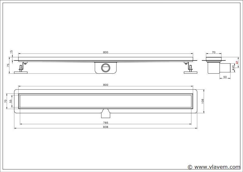 1 st. 80 cm RVS Douchegoot design - Streep gaten