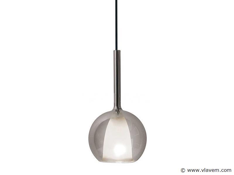1 st. Modern dubbel glas grijs + wit hanglamp - 180mm