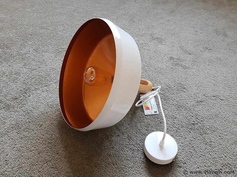 1 st. Modern hanglamp wit ijzer met houten E27 fitting - 350mm