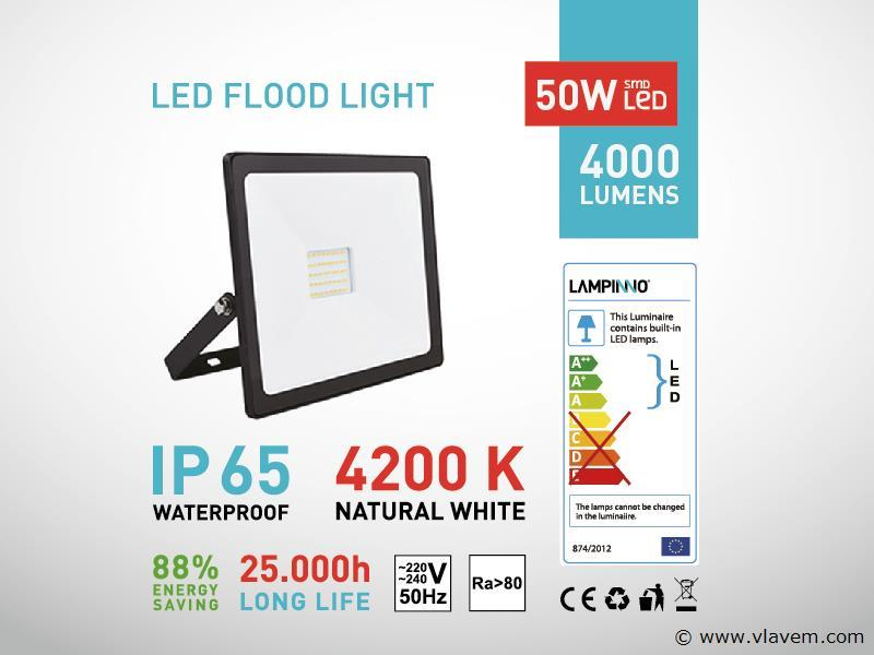 6 st. 50W LED Projectoren - Waterdicht (ip 65)