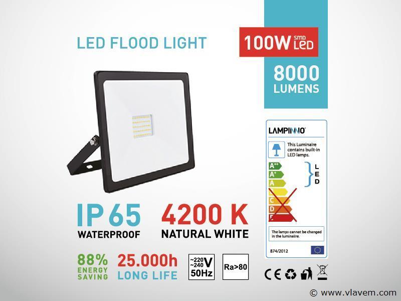 2 st. 100W LED Projectoren - Waterdicht (ip 65)