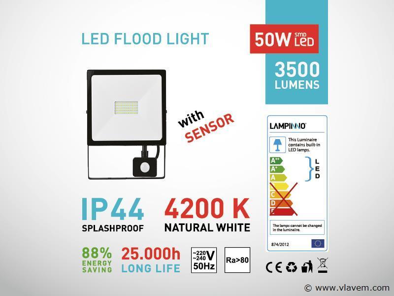2 st. 50W LED Projectoren met sensor - waterdicht (ip 44)