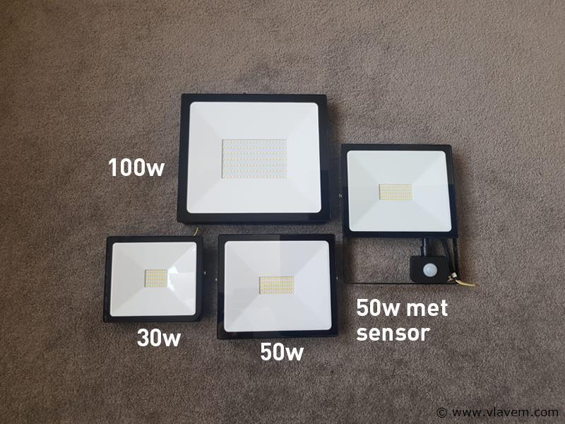 4 st. 50W LED Projectoren met sensor - waterdicht (ip 44)