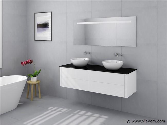2 Persoons badkamermeubel hoog glans wit