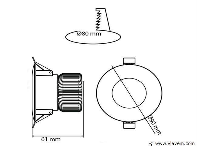 4 st. 6 watt rond waterdicht (ip65) led Inbouwspots - 4200 K