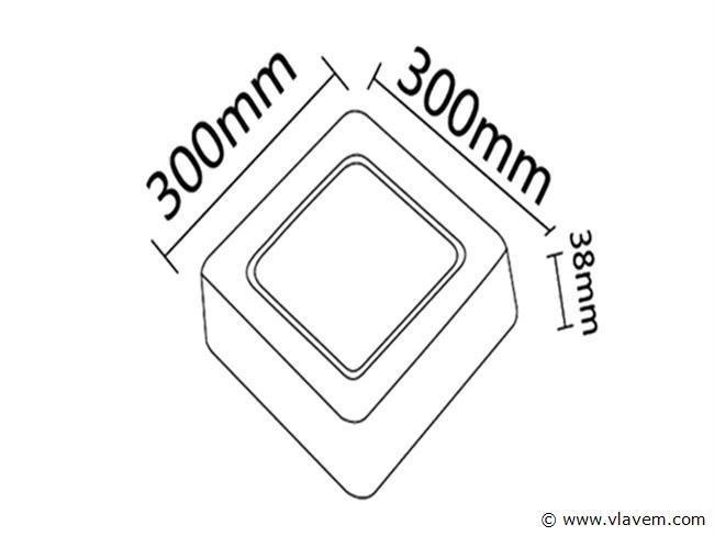 4 st. 28W LED vierkant opbouw led panelen - Warm wit