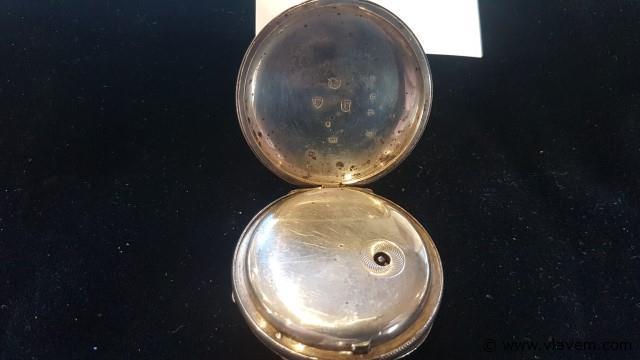 Zakhorloge zilver met sleutel, niet werkend