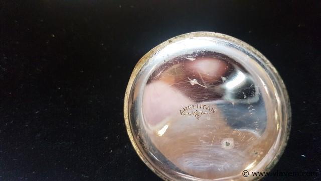 Zakhorloge Argentan, werkend, stukje uit glas