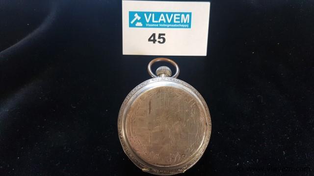 Zakhorloge Bornand Genève zilver 800, niet werkend