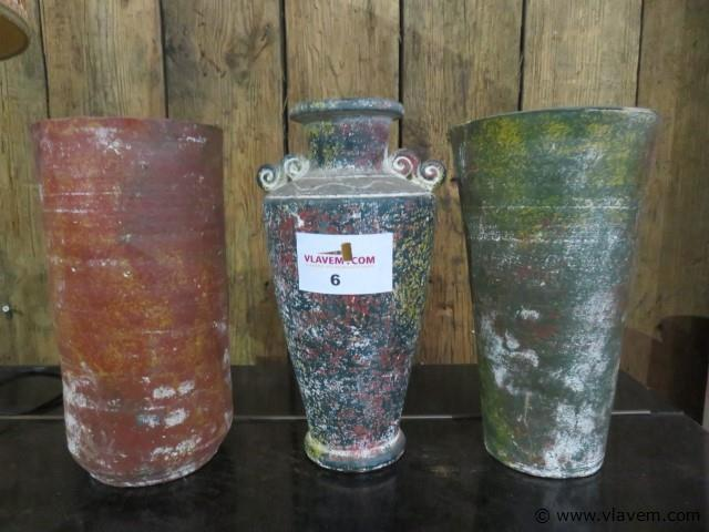 Vazen terracotta, 3 stuks