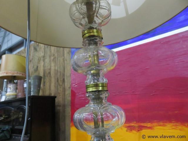 Staanlamp glas (Val-Saint-Lambert) en brons