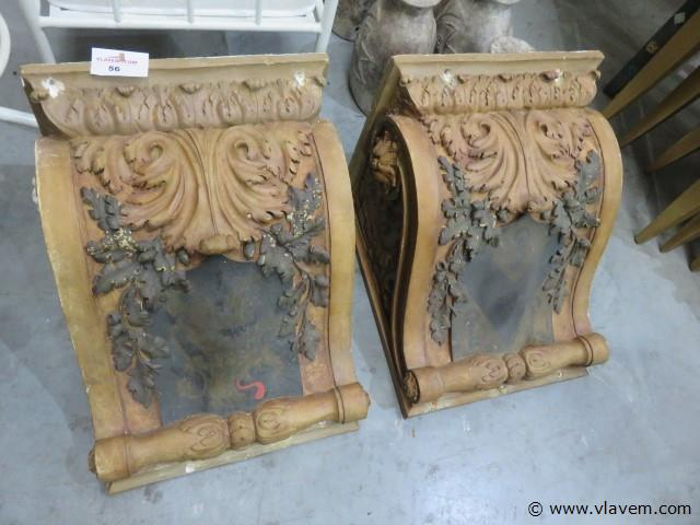 Antieke gipsen consoles, rond 1880, 40x40x50cm