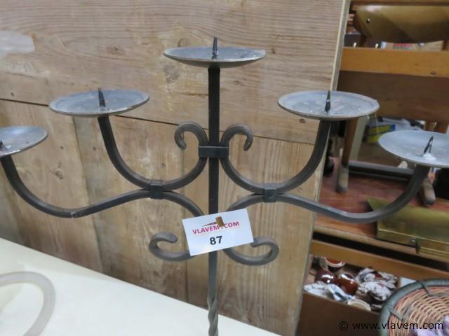 Smeedijzeren kandelaar, 5 kaarsen, 52cm