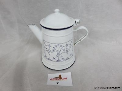 Antieke emaille theepot, Copenhague decor, 17cm