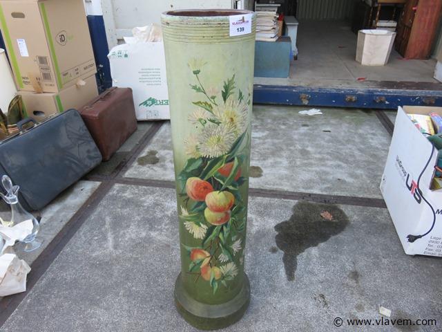 Folkart, beschilderde rioolbuis van 1906, 104x25cm