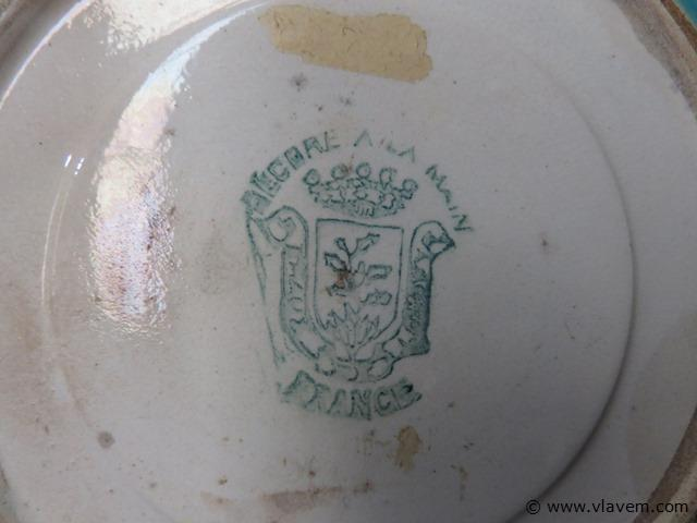 Antiek bord emaux de longwy, 19cm