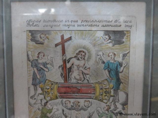 Kader met antieke devotica prent en tekst, 21x28cm