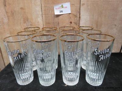 Vintage Stella Artois glazen, 12 stuks