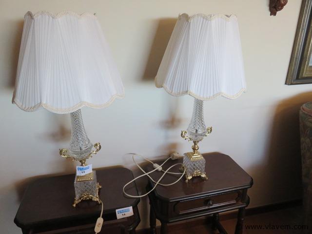 Kristallen lampen met messing, 2 stuks, 75cm hoogte