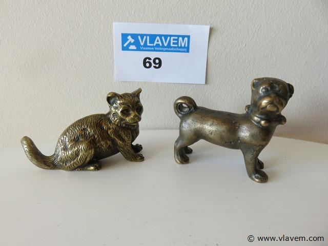 Antieke bronzen kat en hond