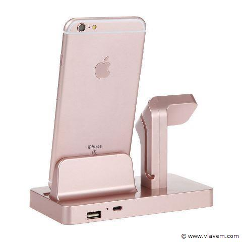 1x   2 in 1 Multifunctionele Telefoon Stand Dock Charger Charging Cradle Holder Voor iPhone X 8 7 6 6 s Plus 6 5 s 5 Voor Apple Horloge Charger roze.