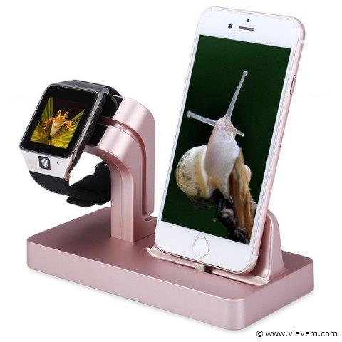 1x   2 in 1 Multifunctionele Telefoon Stand Dock Charger Charging Cradle Holder Voor iPhone X 8 7 6 6 s Plus 6 5 s 5 Voor Apple Horloge Charger roze.