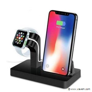 1x   2 in 1 Multifunctionele Telefoon Stand Dock Charger Charging Cradle Holder Voor iPhone X 8 7 6 6 s Plus 6 5 s 5 Voor Apple Horloge Charger zwart.