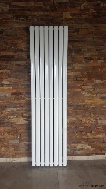 1 st. Verticale designradiator  WIT - Ovaal tubes - Afm. H1800 x B480 - 1837 Watt - RONDO -