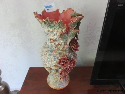 Vaas aardewerk met bloemen 45cm (living)