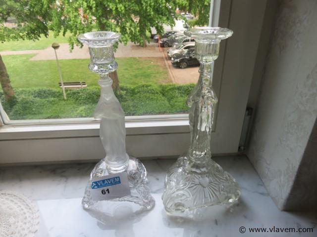 Glazen kandelaars, 2 stuks (living)