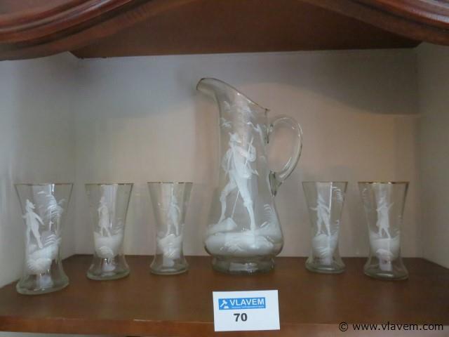Antieke karaf met 5 glazen, geëmailleerd (living)