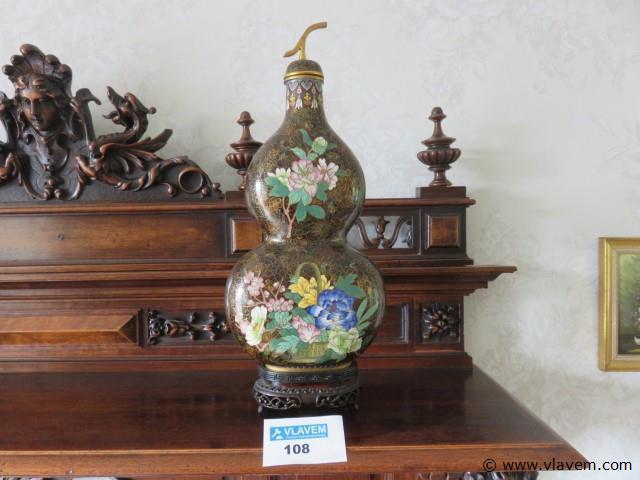 Cloisonné  vaas op houten voet 40cm (living)