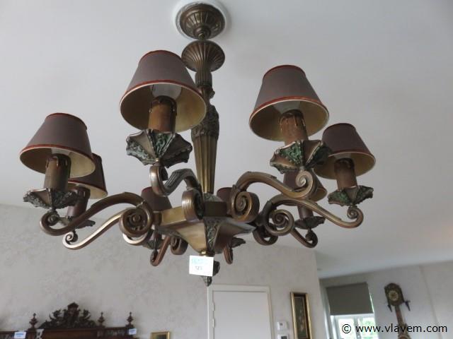 Bronzen Art-deco luster 8 lichtpunten 86cm (living)