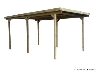 Carport/overkapping plat dak  300x500cm. doorrijhoogte 200cm. incl. stalen golfplaten
