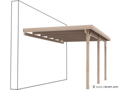 Overkapping/carport plat dak, een zijde tegen de muur circa: 300x750cm. Met hoogte aan voorzijde van 200cm.