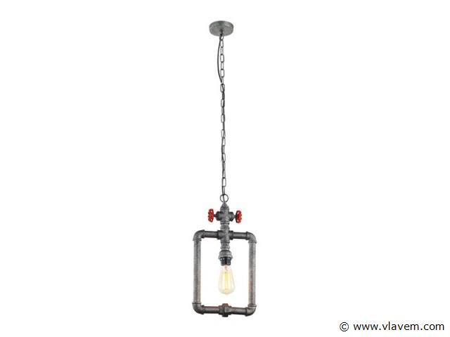2 x Industriele waterbuis hanglamp - WAPI - Grijs met zwart en rood