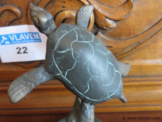 Brons beeld schildpad 14cm