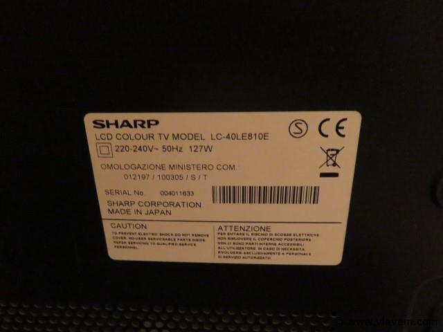Sharp LCD tv type LC-40LE810E, geen afstandsbediening (salon)