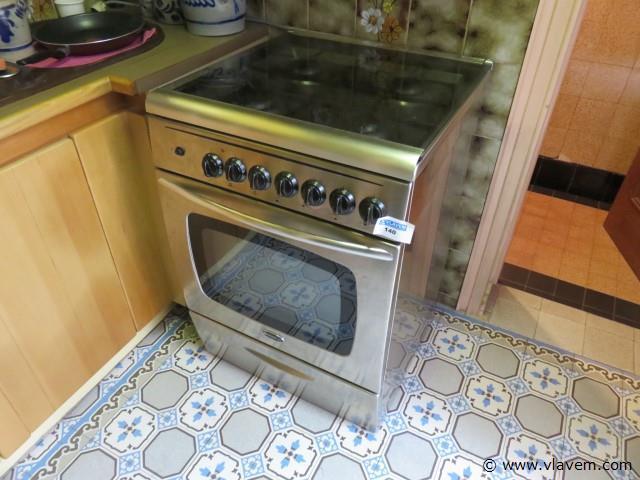 Gasvuur 4 bekken met oven, inox look (keuken)