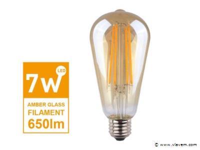 50 x E27 Filament LED amber cover lampen - 7 watt - Warm wit