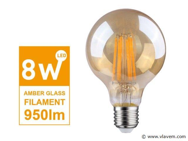 20 x E27 Filament LED amber cover lampen - 8 watt - Warm wit