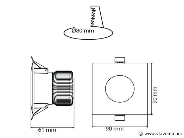 20 x 6 watt vierkant waterdicht (ip65) led Inbouwspots - Neutraal wit