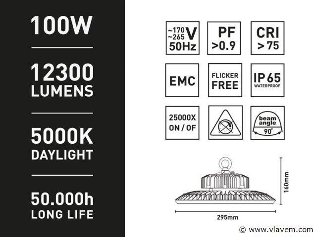 4 x 100 Watt OSRAM CHIPS LED Ufo High Bay - Daglicht