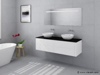 2 Persoons badkamermeubel hoogglans wit, 120cm.