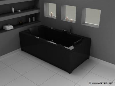 whirpool/massage bad Etna zwart met massage functie RT1802.1AZ.OC